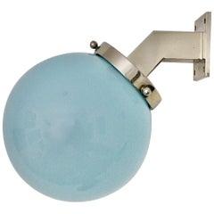 Art Deco Bauhaus Vintage Blue Glass Metal Sconce, 1930s