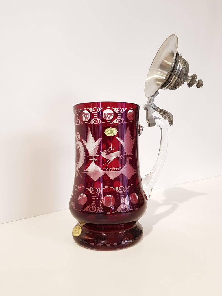Original Baviera (Germany) crystal beer mug hand crafted by Dr. Merle Atelier, realized in the 70s.