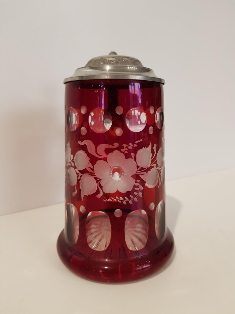 Hand-Crafted Art Deco Bavarian Crystal Mug For Sale