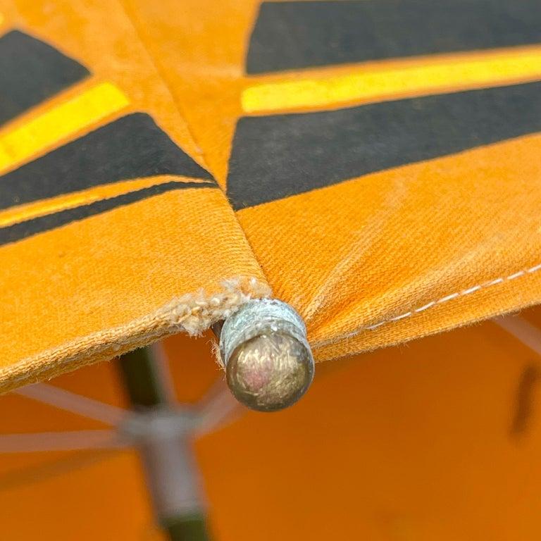 Art Deco Beach Umbrella with Steam Ship Motif For Sale 5