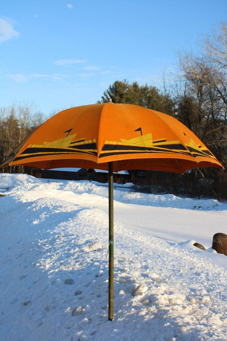Art Deco Beach Umbrella with Steam Ship Motif For Sale 7