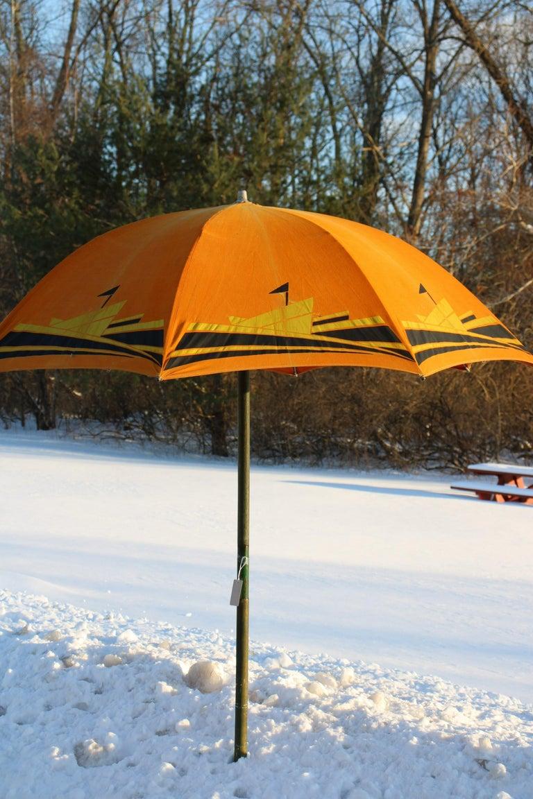 Art Deco Beach Umbrella with Steam Ship Motif For Sale 9