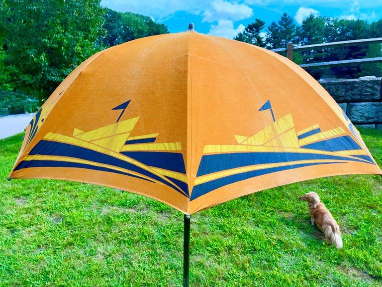 Art Deco Beach Umbrella with Steam Ship Motif For Sale 11