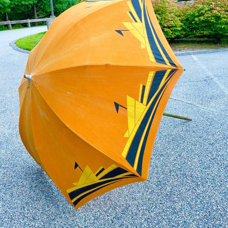 American Art Deco Beach Umbrella with Steam Ship Motif For Sale