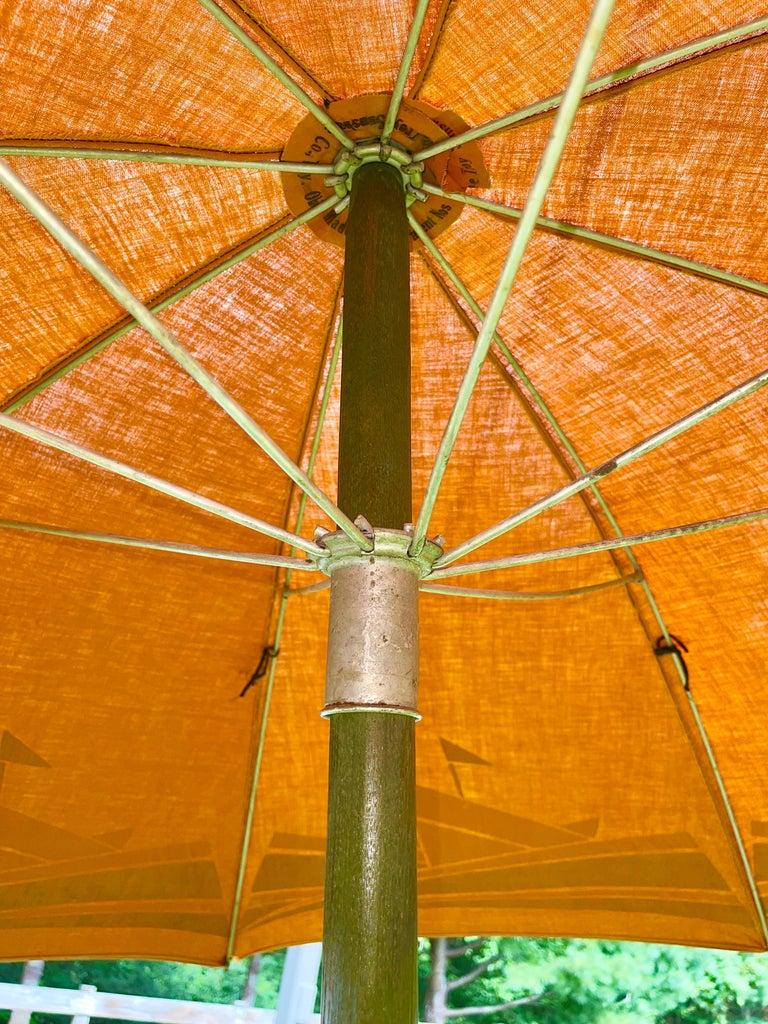 Aluminum Art Deco Beach Umbrella with Steam Ship Motif For Sale