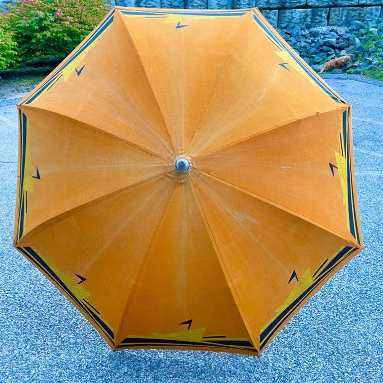 Art Deco Beach Umbrella with Steam Ship Motif For Sale 2