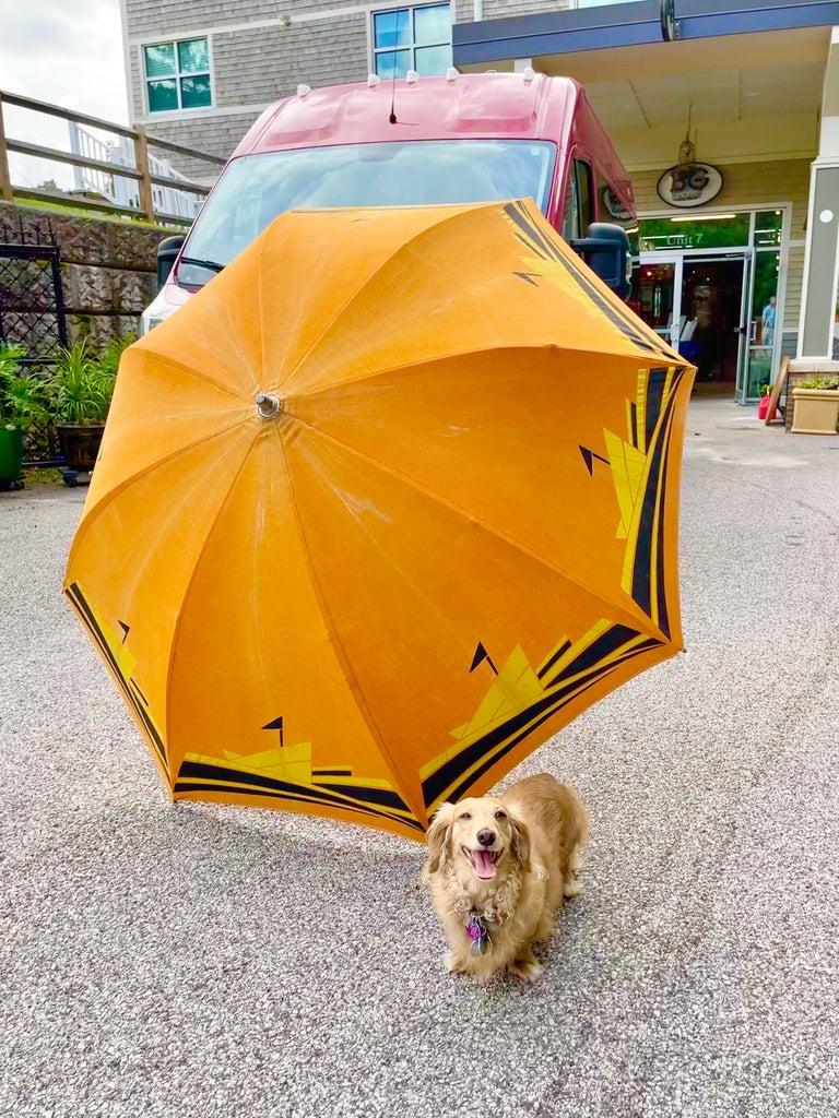 Art Deco Beach Umbrella with Steam Ship Motif For Sale 3