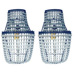 Art Deco Beaded Basket Diminutive Sconce, a Pair