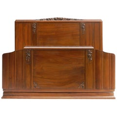 Art Deco Bed US Queen UK King Size Carved Walnut French, circa 1930