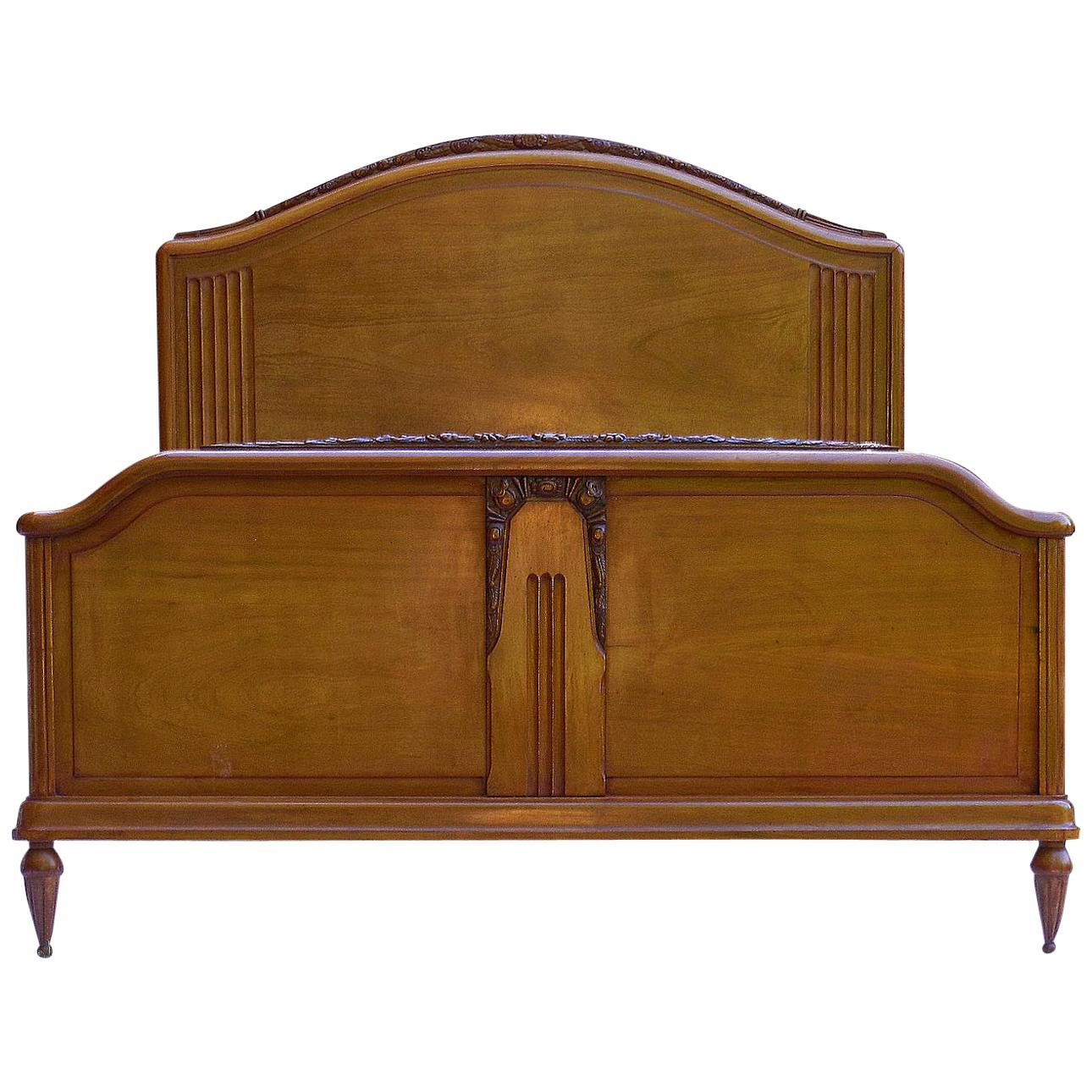 Antique/vintage Carved French Oak Double Bed Firm In Structure Edwardian (1901-1910) Antique Furniture