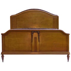 Art Deco Bed US Queen UK King Size French Carved Walnut, circa 1930