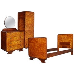Art Deco Bedroom Set Osvaldo Borsani manner, Birch and Walnut Burl Period, 1930s