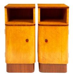 Art Deco Bedside Cabinets in Golden Bird's-Eye Maple