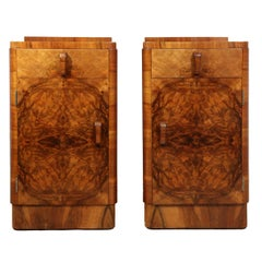 Art Deco Bedside Cabinets in Walnut