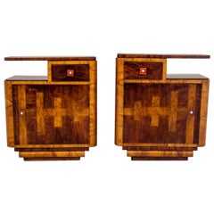 Art Deco Bedside Tables, Poland, Around 1950, After Renovation
