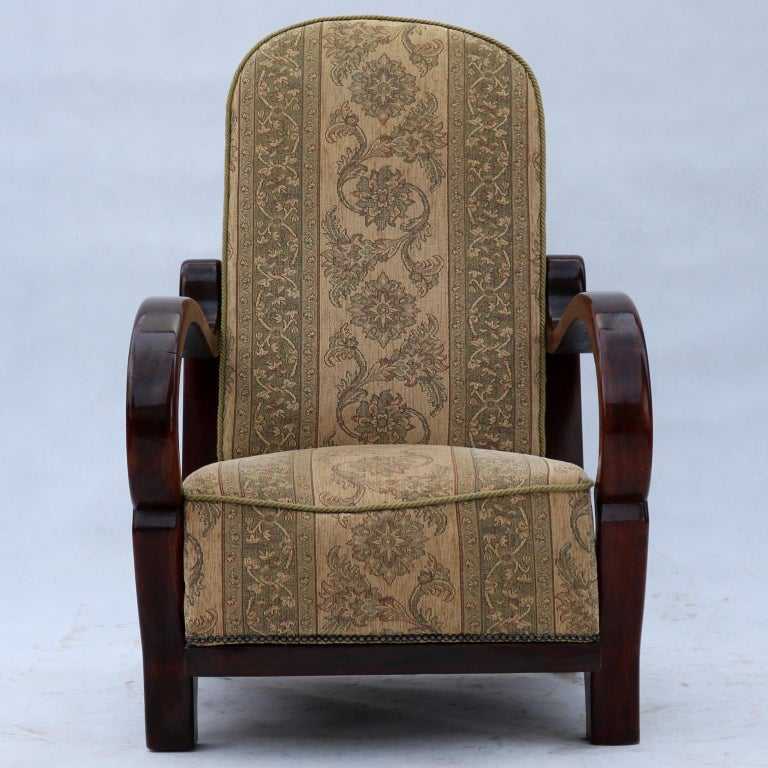 Art Deco armchair in original upholstery, stabile construction, beech wood, removable seat cushion.