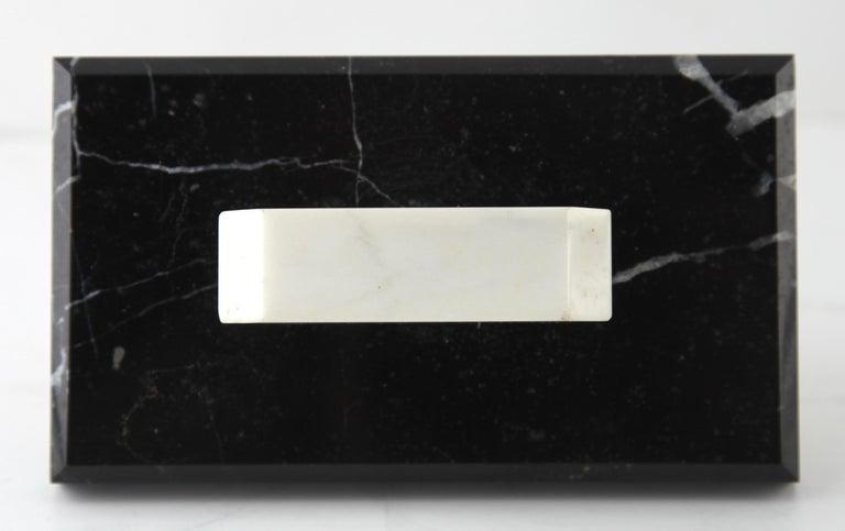 Art Deco Belgium Black Marble Desk Set Decorated with Bronze Bird For Sale 3