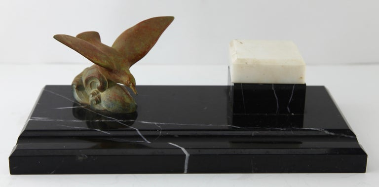 Mid-20th Century Art Deco Belgium Black Marble Desk Set Decorated with Bronze Bird For Sale