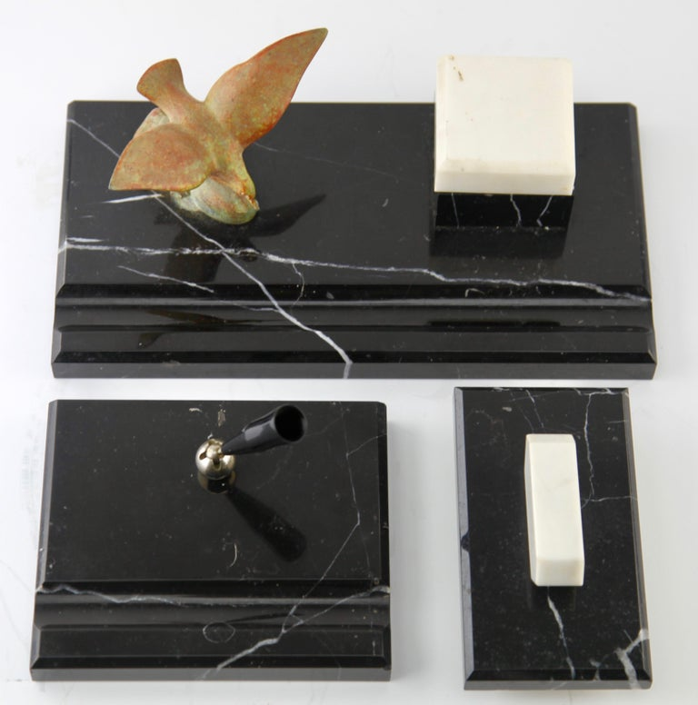 Belgian Black Marble Art Deco Belgium Black Marble Desk Set Decorated with Bronze Bird For Sale