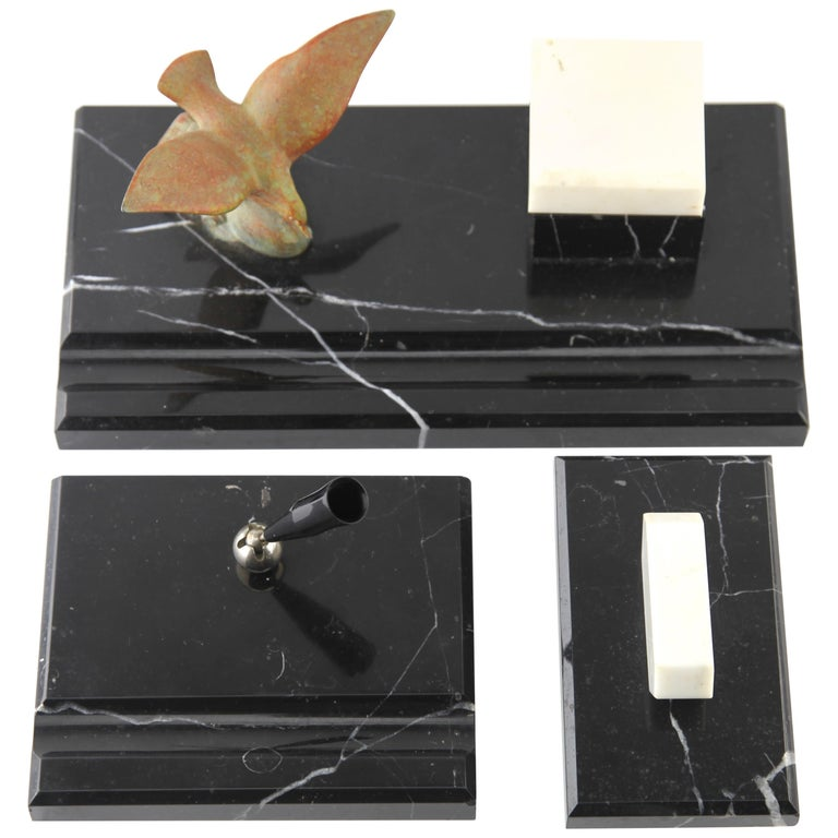 Art Deco Belgium Black Marble Desk Set Decorated with Bronze Bird For Sale