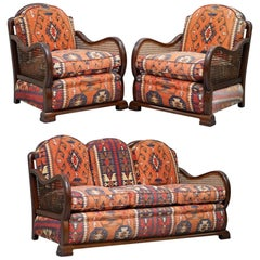 Art Deco Berger Three-Piece Suite Kilim Upholstered Cushions Sofa and Armchairs