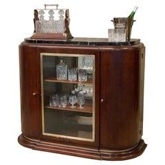 Art Deco Beverage Cabinet, Portoro Marble Top, Liquor Cabinet, 1920, Dry Bar