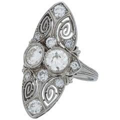 Art Deco Bezel Set Old European Cut Diamond Twin Ring in Platinum
