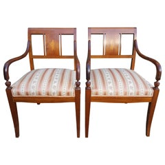 Art Deco Biedermeier Carver Chairs Early 1900s Swedish Antique Marquetry Inlays