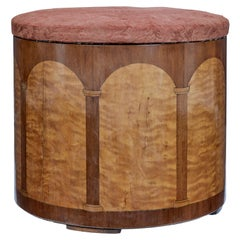 Art Deco Birch and Walnut Stool with Fitted Interior