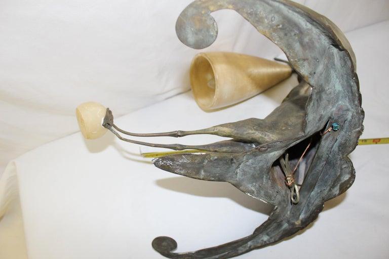 Art Deco Bird Sconce Bronze and Alabaster after Albert Cheuret For Sale 3