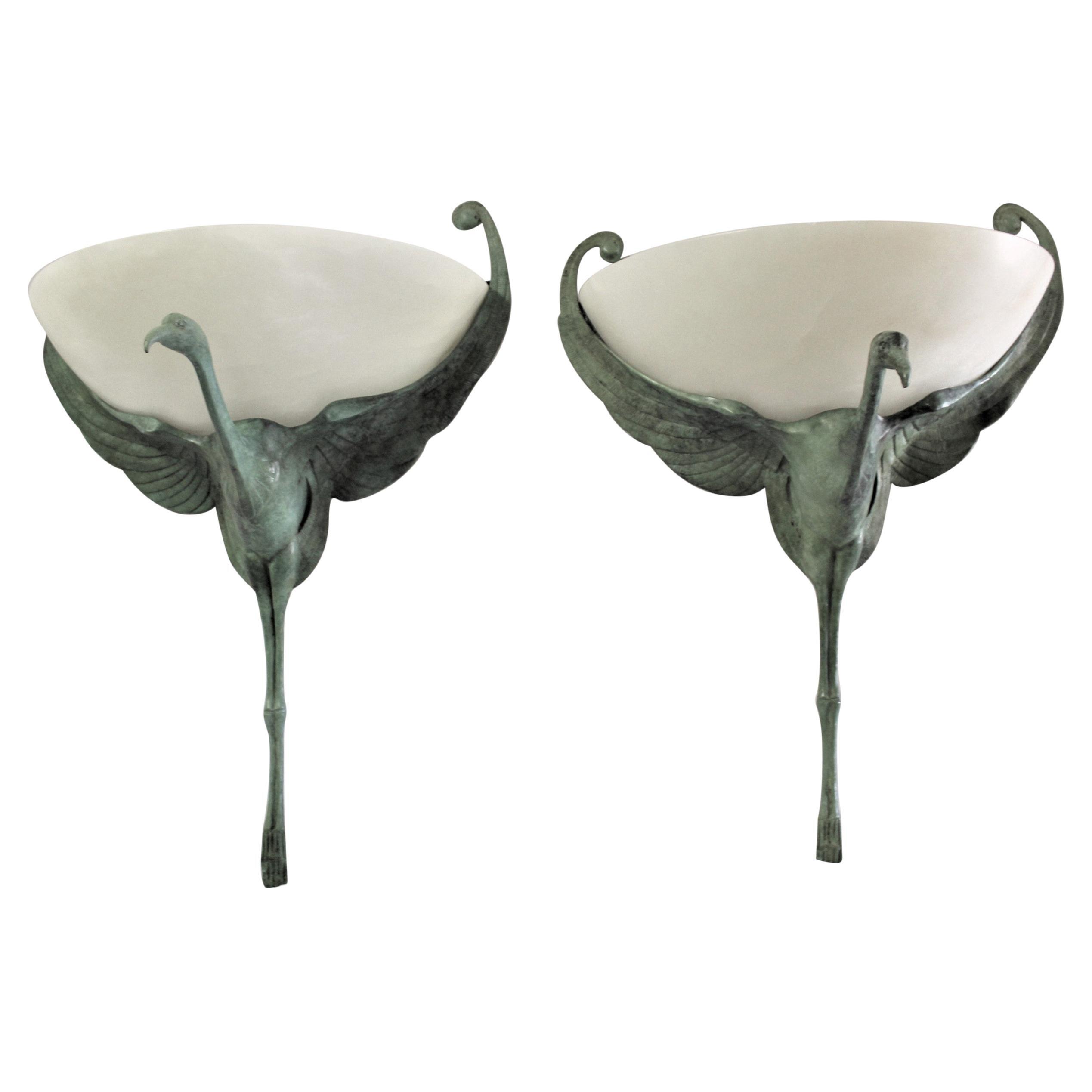 Art Deco Bird Sconces Alabaster and( Bronze) Style of Albert Cheuret