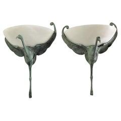 Art Deco Bird Sconces Alabaster and Bronze Style of Albert Cheuret
