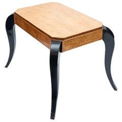 Art Deco Bird's-Eye Maple and Ebonized Table