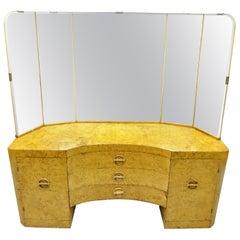 Art Deco Bird's-Eye Maple Vanity Table 5-Panel Mirror after Gilbert Rohde