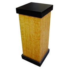 Art Deco Bird's-Eye Style Maple Pedestal with Black Top