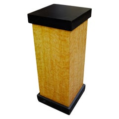 Art Deco Bird's-Eye Style Maple Pedestal with Black Top