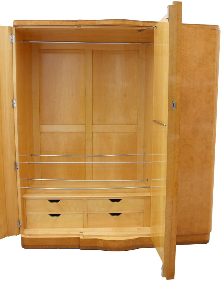 For your consideration is this superb Art Deco three-door triple wardrobe by the highly esteemed furniture makers Hille. Dating to the 1930s the quality throughout this piece is of the highest spec with no expense spared and will easily integrate in