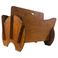 Art Deco Birdseye Maple Wood Magazine Rack