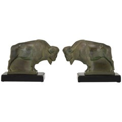 Art Deco Bison Bookends Max Le Verrier, France, 1930