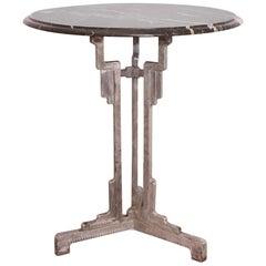Art Deco Bistro Table Metal Base Charlionais Et Panassier Marble Top, circa 1930