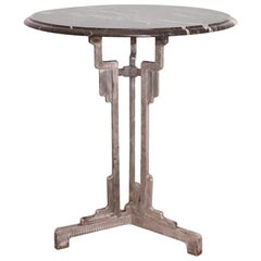 Art Deco Bistro Table Metal Base Charlionais Et Panassier Marble Top, circa 1930