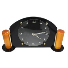 Art Deco Black Acrylic and Catalin Bakelite 8 day Mantel Clock