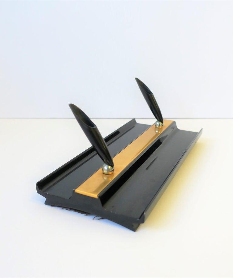 Enameled Art Deco Black and Gold Desk Pen Holder For Sale