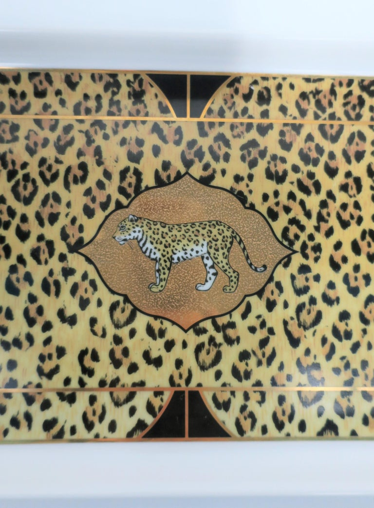 Leopard Cat Porcelain Serving Tray in Black and Gold, ca. 1990s For Sale 2