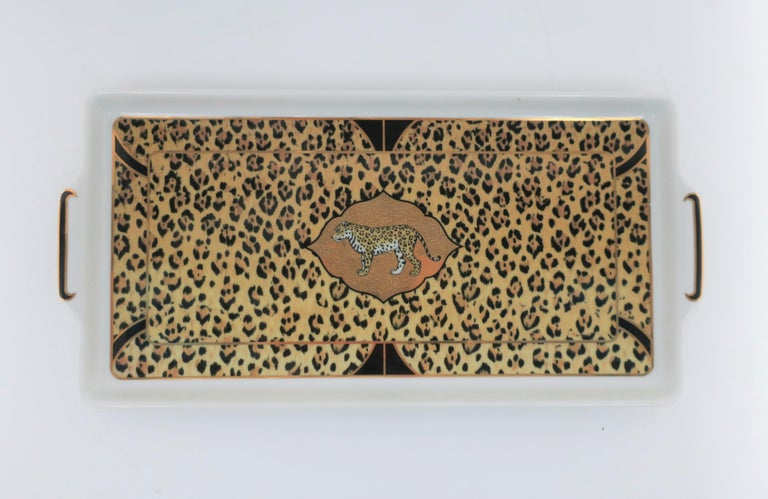 A beautiful '90s black and 24-karart gold designer Leopard tiger cat porcelain rectangular serving tray, circa late-20th century, 1994, in the Art Deco style, by Lynn Chase. Tray can be used in many ways; I'm showing it here as a vanity tray with