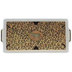 Black and Gold Leopard Cat Rectangular Tray, ca. 1990s