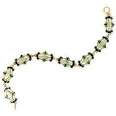 Art Deco Black and Green Enamel 14 Karat Gold Link Bracelet