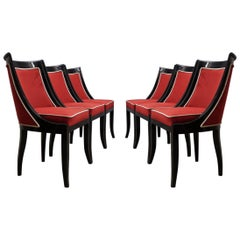 Art Deco Black and Red Velvet French Chairs, 1940