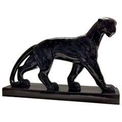 Art Deco Black Ceramic Panther, France, 1930