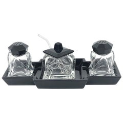 Art Deco Black and Clear Glass Condiment Set Vintage Europe, Sweden, 1930s